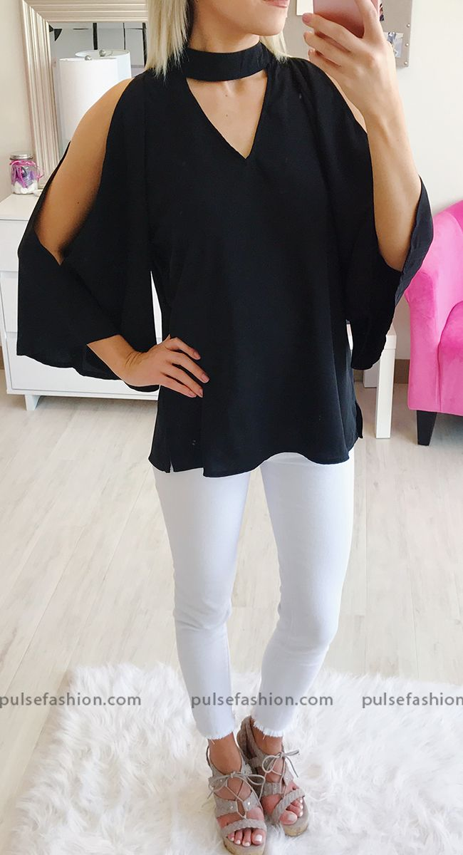 81b526eab8099 This super chic top features trendy cold shoulders and a high v-neckline!   OOTD  WomensFashion  ColdShoulder  VNeck