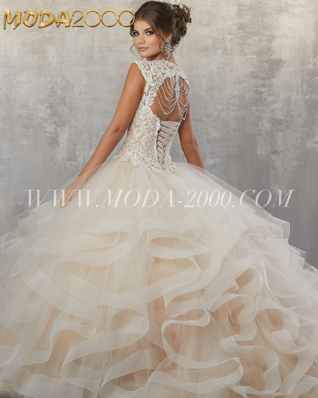 Beaded Lace Champagne Quinceanera Dress With Back Detail Big Ruffles Available At Moda 2000 Inst Champagne Quinceanera Dresses Quince Dress Official Dresses [ 1350 x 1080 Pixel ]