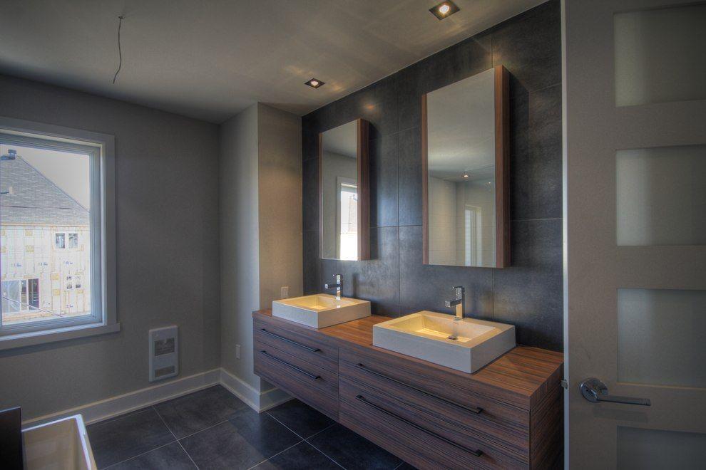 Contemporain miroir lavabo salle de bain vanit maison for Construction salle de bain