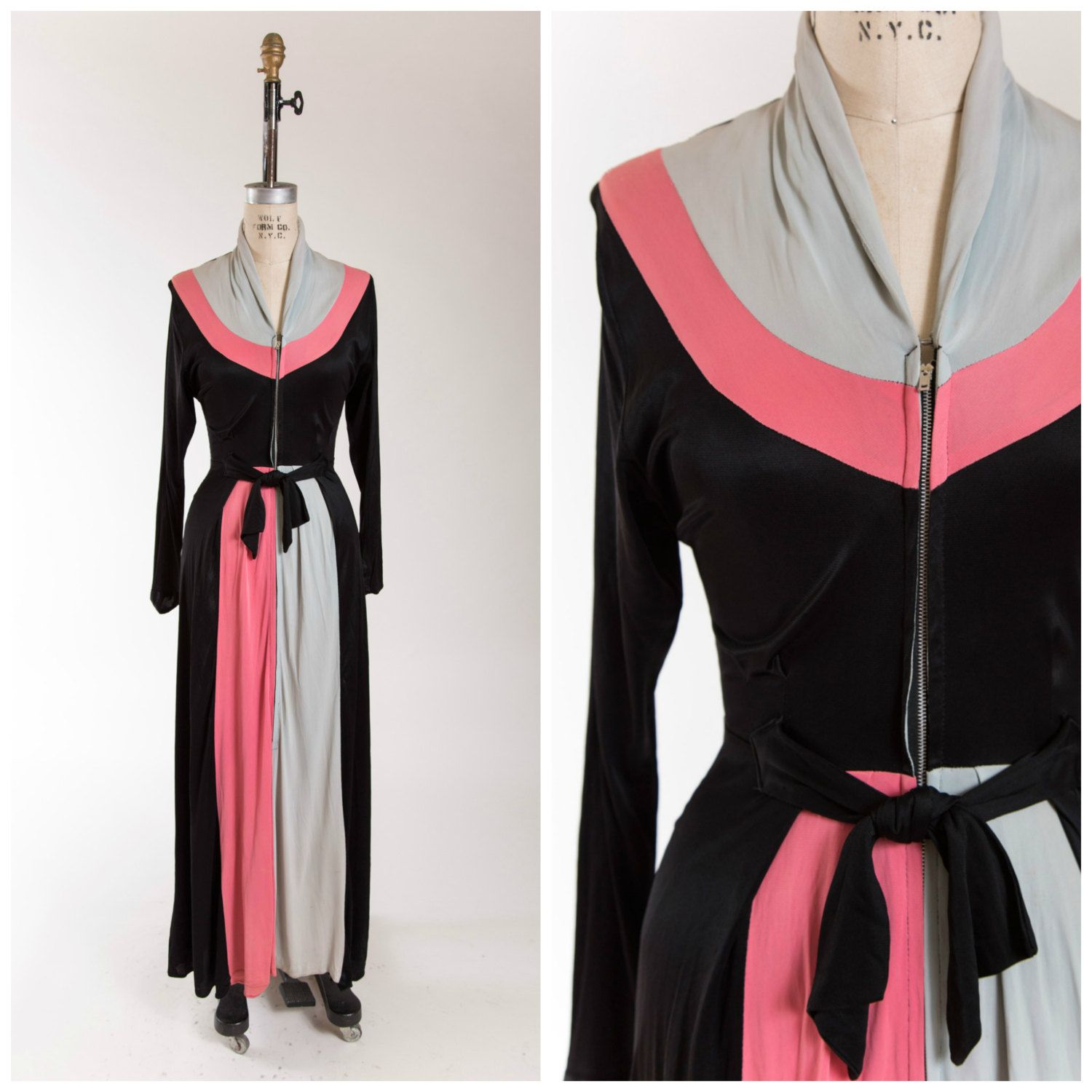 1940s Dressing Gown: Vintage 1940s Dressing Gown Color Block Jersey Dress 40s