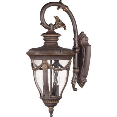 2 light outdoor belgium bronze mid size wall lamp with arm down and