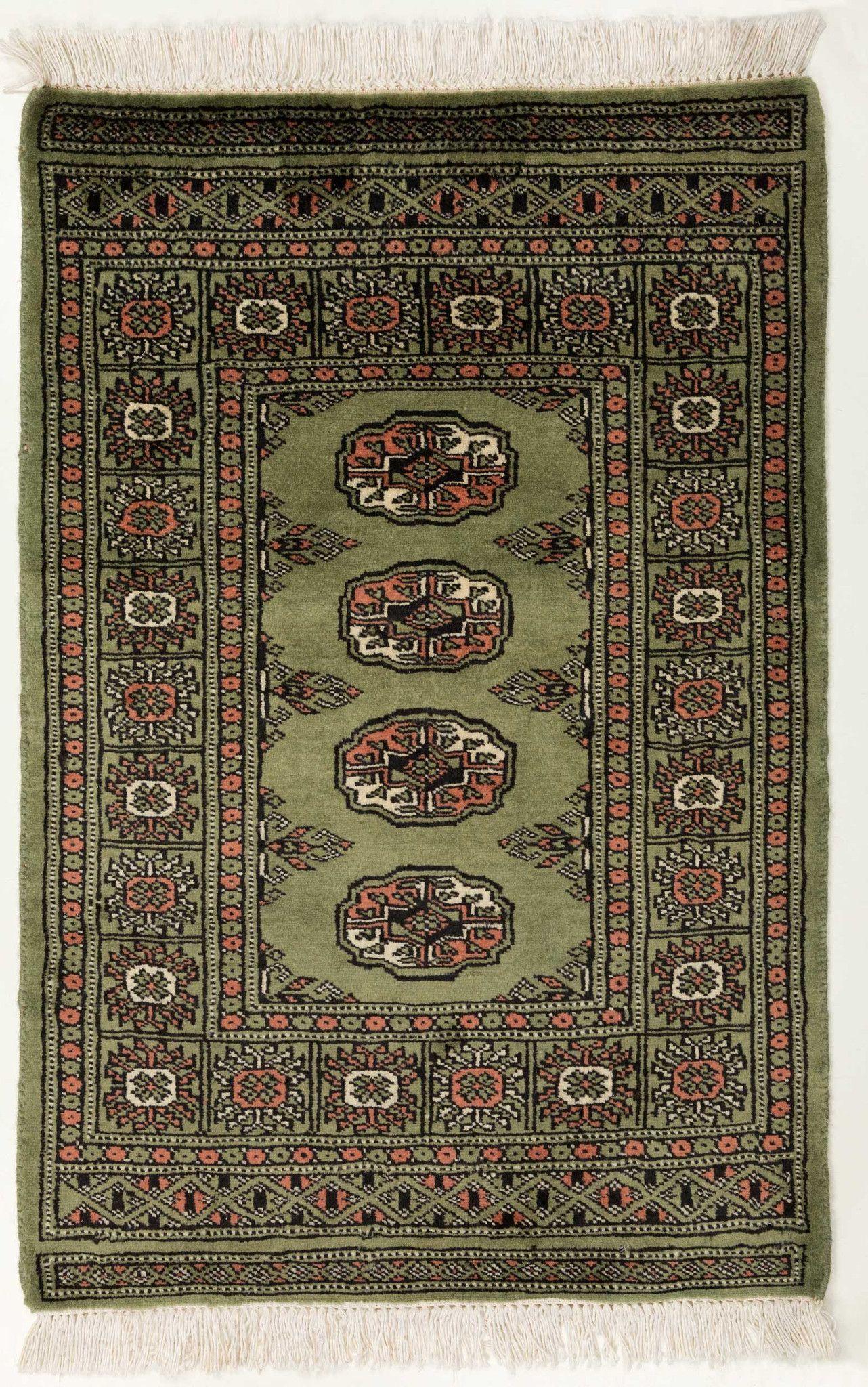 2x3 Green Bokhara Oriental Rug