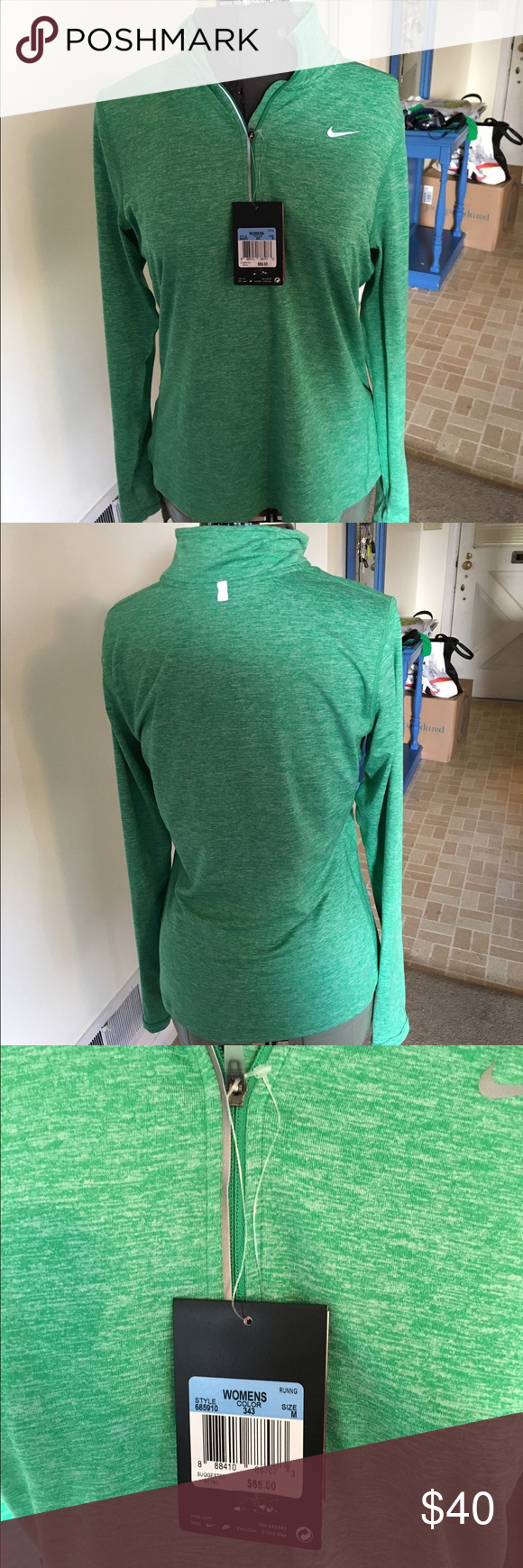 NWT Dri- Fit Pullover Running Jacket Never worn, dri-fit pullover running Jacket from Nike. Features strategically placed ports for earphone cords, reflective patterns and thumb holes in the sleeves. Nike Jackets & Coats