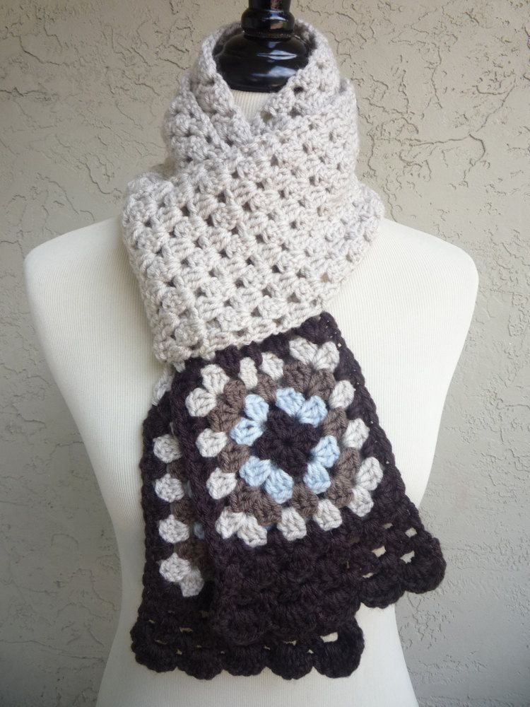 Nature  Colors Granny Square FINISHED Crocheted Scarf. $25.00, via Etsy.