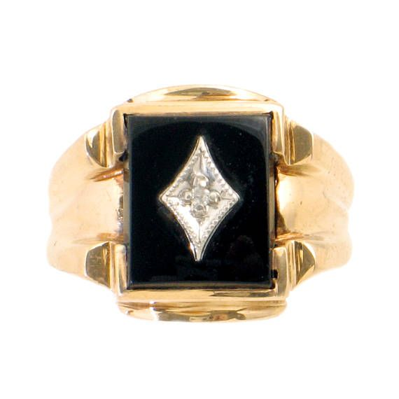 Your Place To Buy And Sell All Things Handmade Signet Ring Men Gold Pinky Ring Vintage Diamond Rings