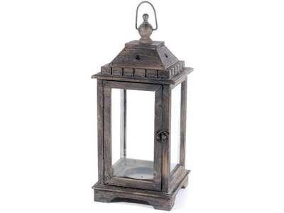 Portacandele Da Giardino : Lanterna porta candela grande in legno da appoggiare e da