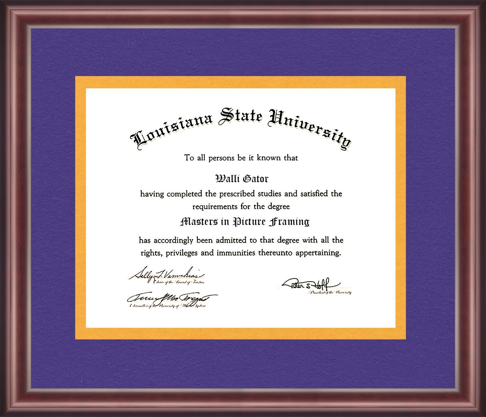 Louisiana State University Diploma Frame Talking Walls Diploma Frame Louisiana State University University Diploma
