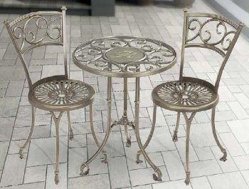 Monogram Metal Table And Chairs Outdoor Bistro Set By Whitehall