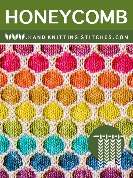 Hand Knitting Pattern - Honeycomb Slip Stitch Pattern #slipstitch