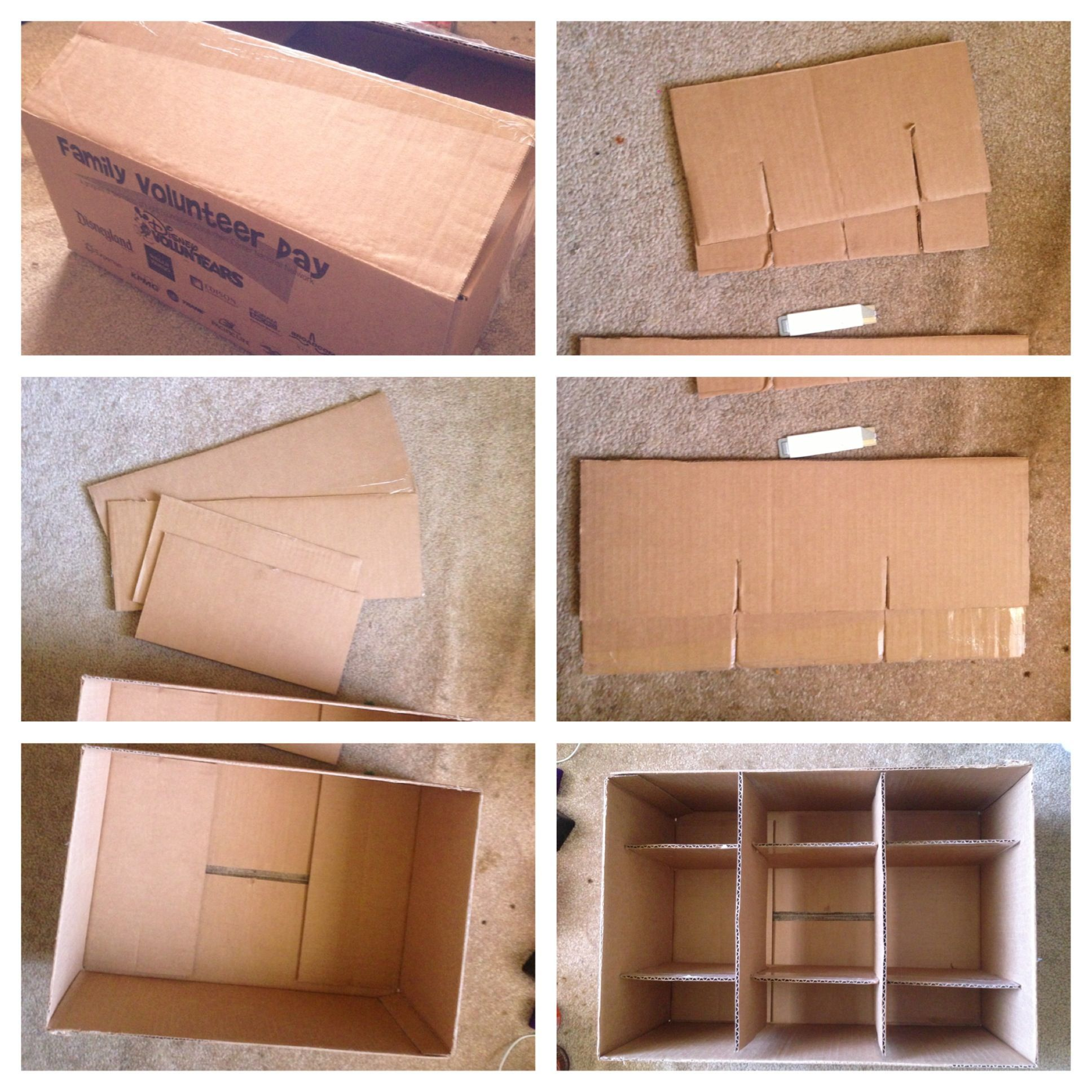 Diy Storage Container Ideas Making A Storage Box With Dividers Using Just A Cardboard Box And