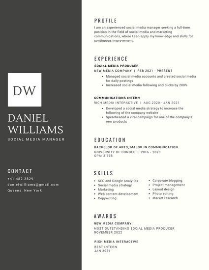 Black with White Shape for Initials Corporate Resume Resume Design