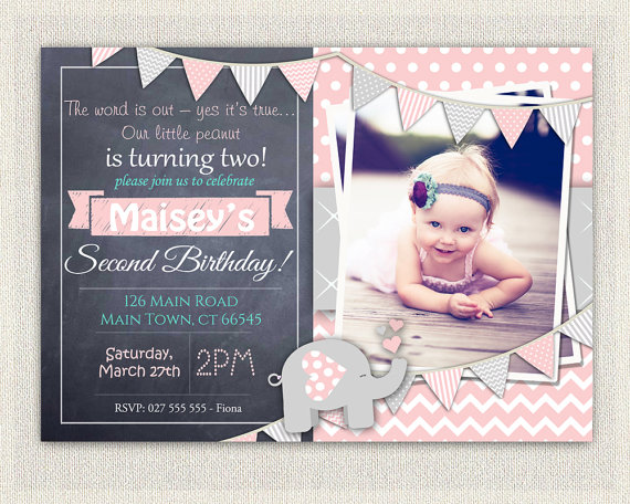 Elephant Girls Pink Grey 2nd Birthday Invitation Download – 2nd Birthday Invite