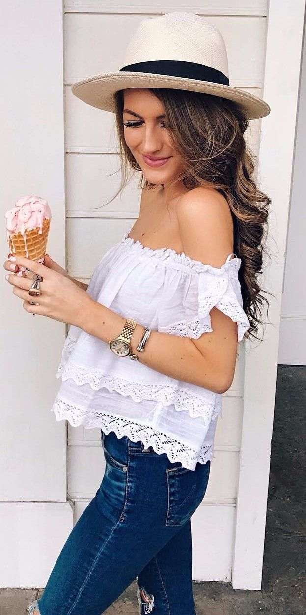 off the shoulder perfection casual outfit