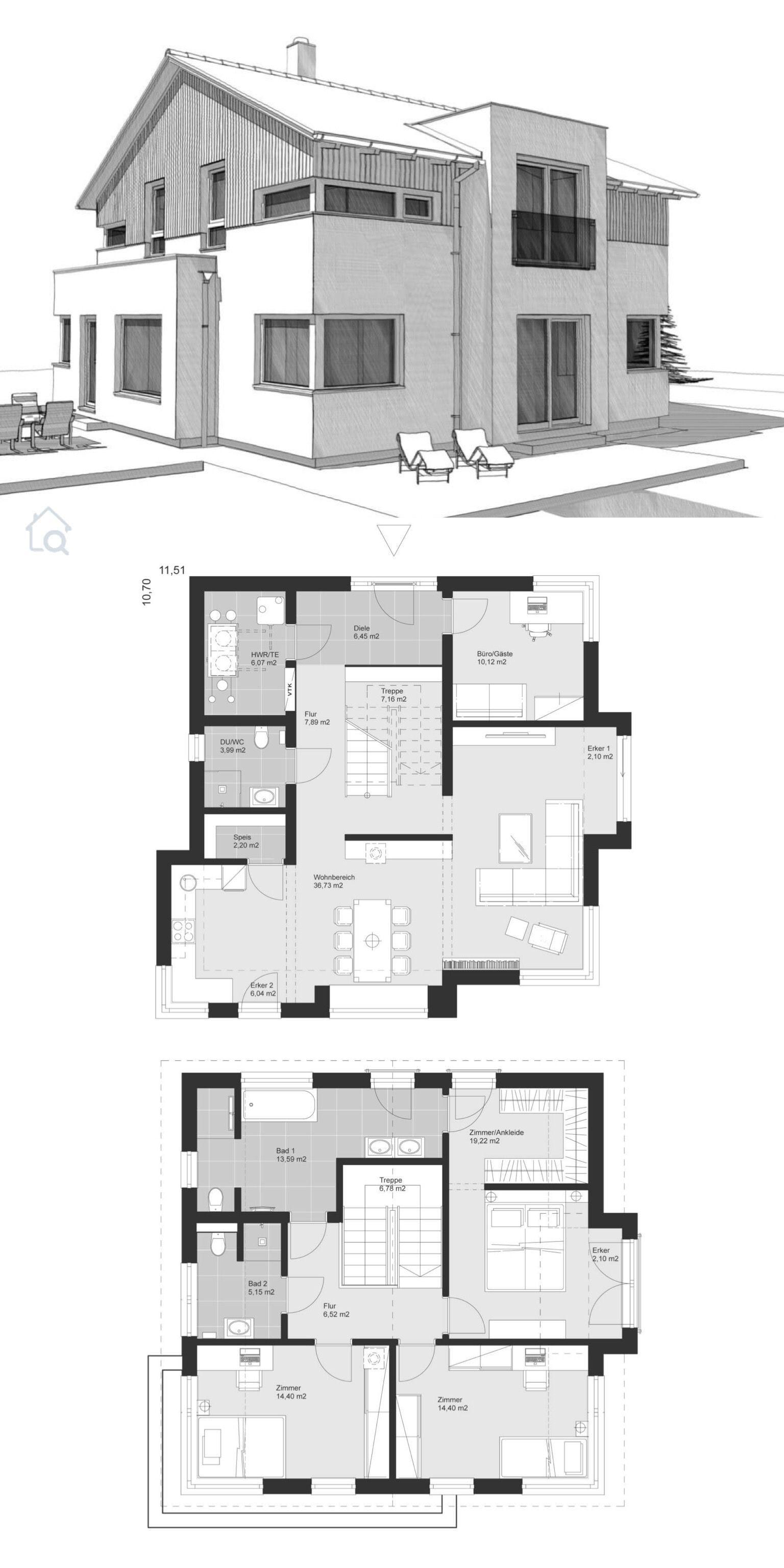 Einfamilienhaus Neubau Grundriss mit Satteldach & Holz Putz Fassade bauen – Haus Ideen