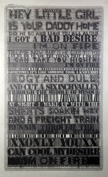 """Alyssa Phoebus, """"I'm on Fire,"""" 2007 with lyrics from Bruce Springsteen song"""