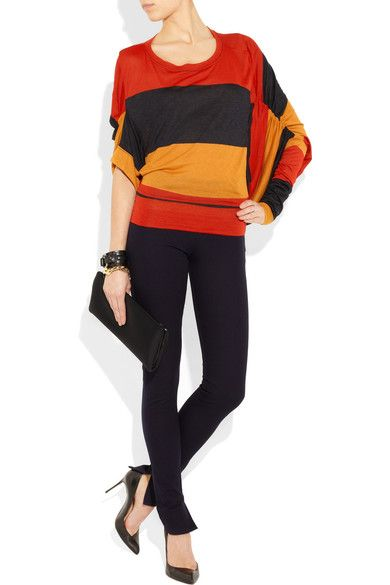 Red, midnight-blue and yellow striped fine-jersey Ruched asymmetric batwing sleeves Slips on 100% viscose Hand wash