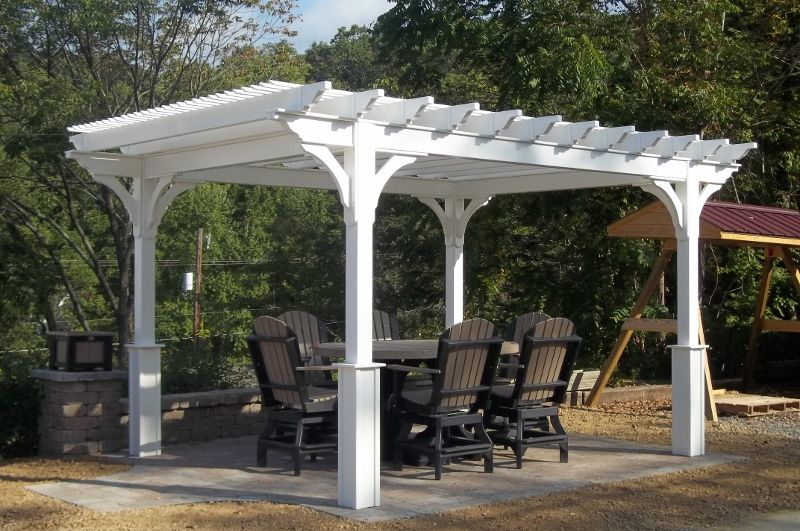 10 X 12 Vinyl Pergola Yoder Woodcrafters Outdoor Pergola Pergola Vinyl Pergola