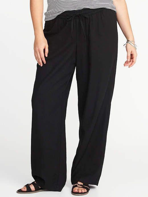 efc9c5dd66e01 Old Navy Plus-Size Linen-Blend Wide-Leg Soft Pants