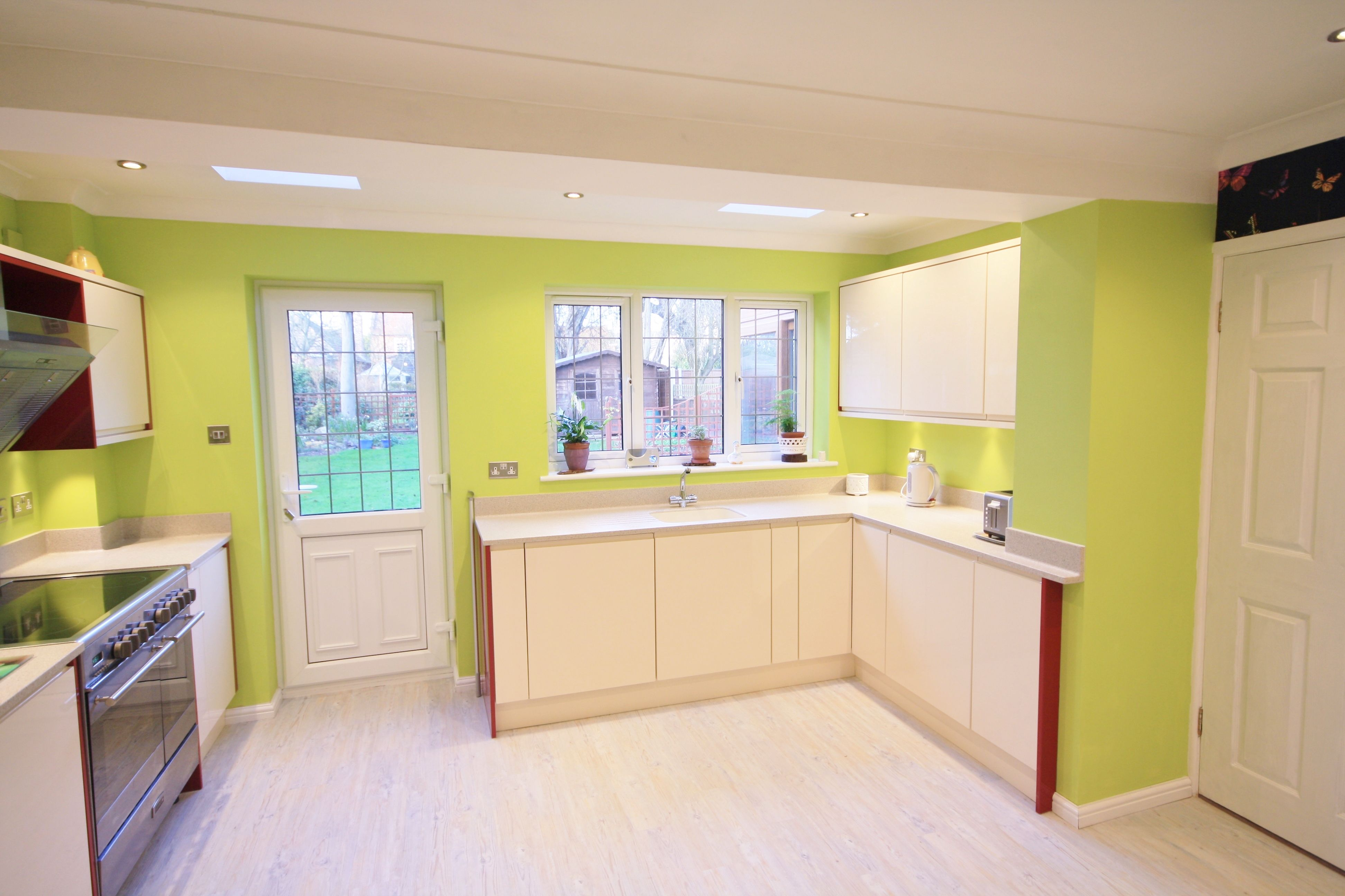 mesmerizing lime green kitchen walls | Cream and Red Gloss units Lime green walls - Designed ...