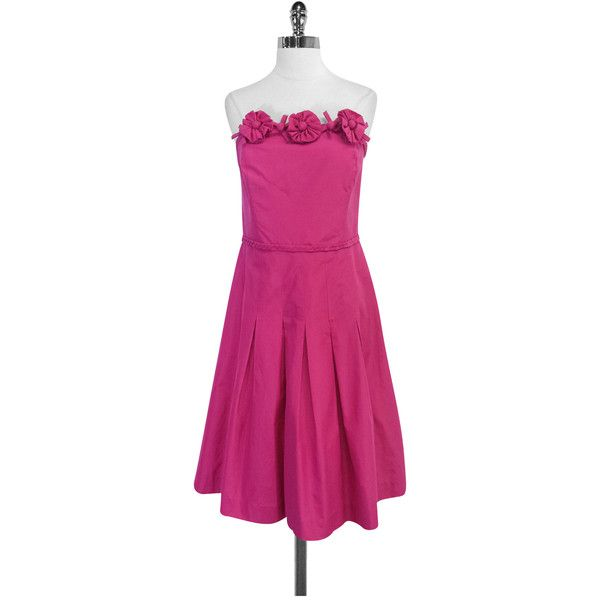 Pre-owned Lilly Pulitzer Fuchsia Silk & Cotton Strapless Dress ($49) ❤ liked on Polyvore featuring dresses, strapless cocktail dresses, strapless dresses, fuchsia dress, purple silk dress and cotton dresses