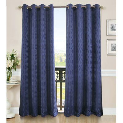 Charlton Home Laverne Geometric Semi-Sheer Single Grommet Curtain Panel Color: Blue