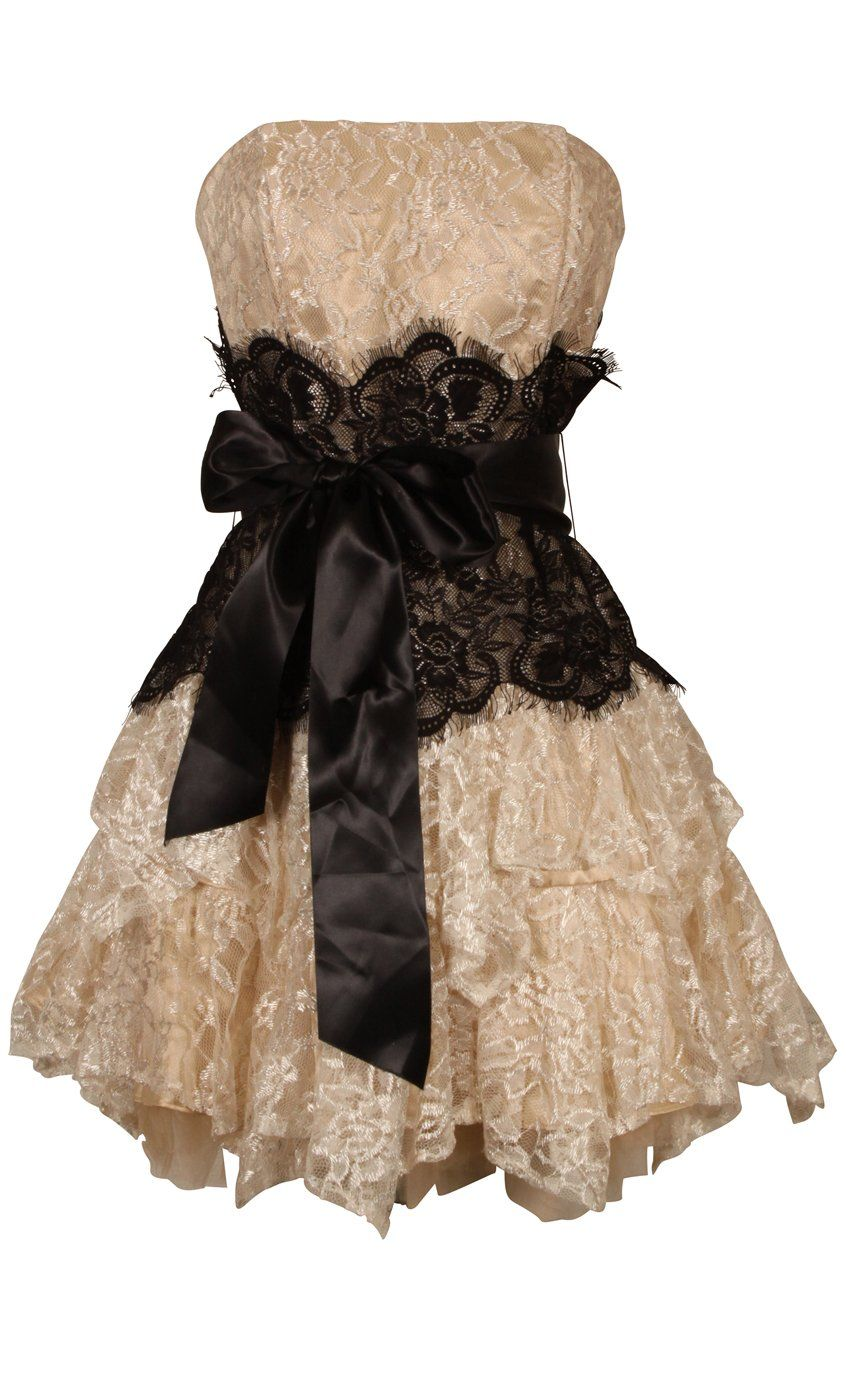 Ever Beauty Strapless Lace Ruffle Short Prom Cocktail Gown with Black Sash Champagne Size 2