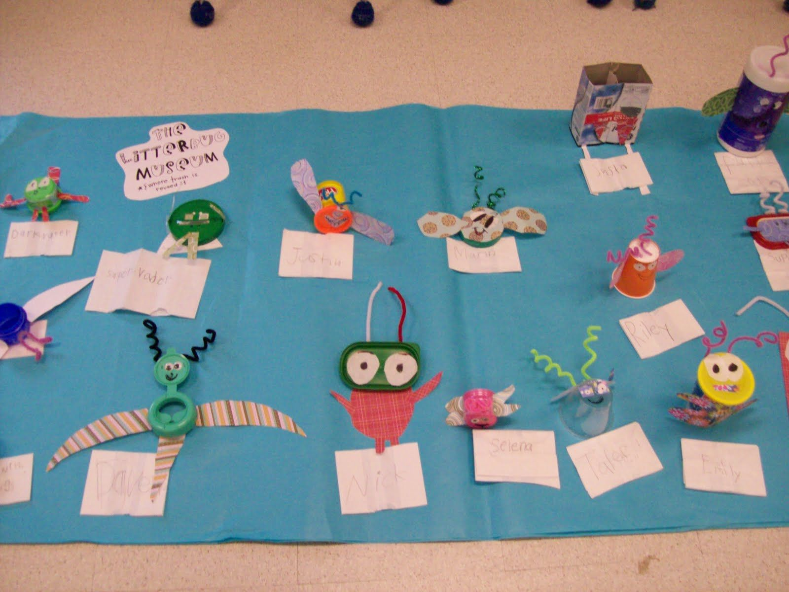 Earth Day Litter Bugs Made From Recycled Objects