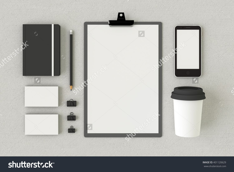 Stationery set, personal branding mockup template, blank corporate ...