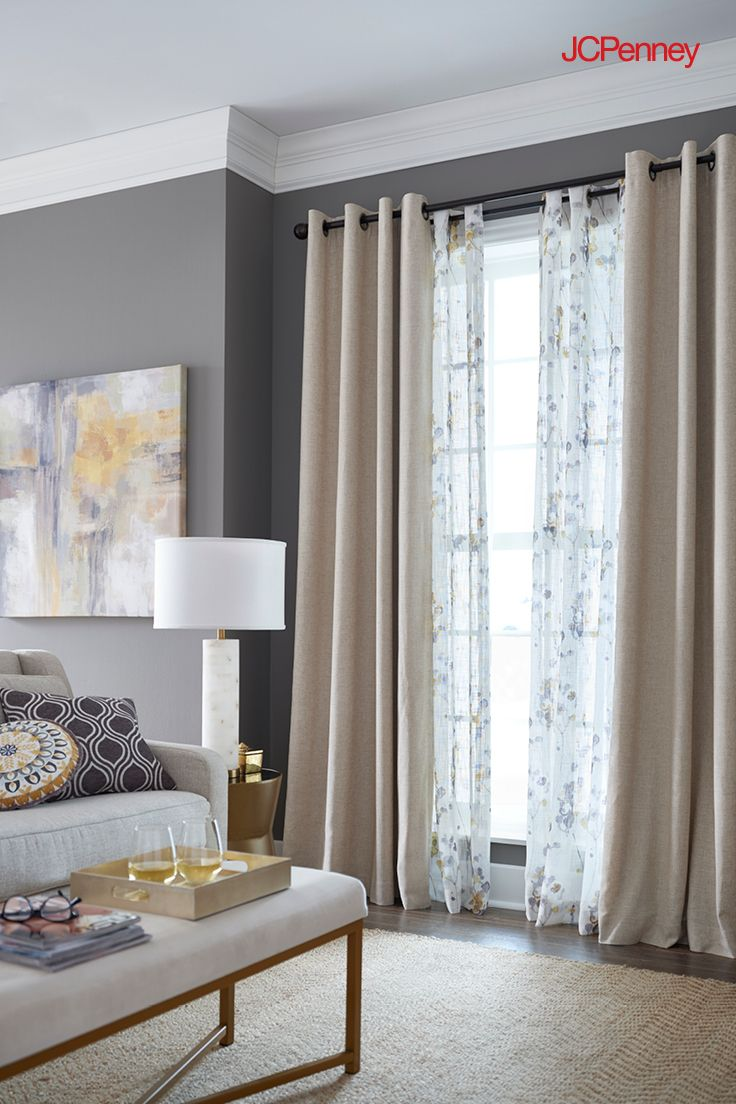 Jcpenney Is The Window Authority Warm Up Your Window And Add Depth To Any Space With Layered Curtains A Curtains Living Room Home Decor Dining Room Curtains