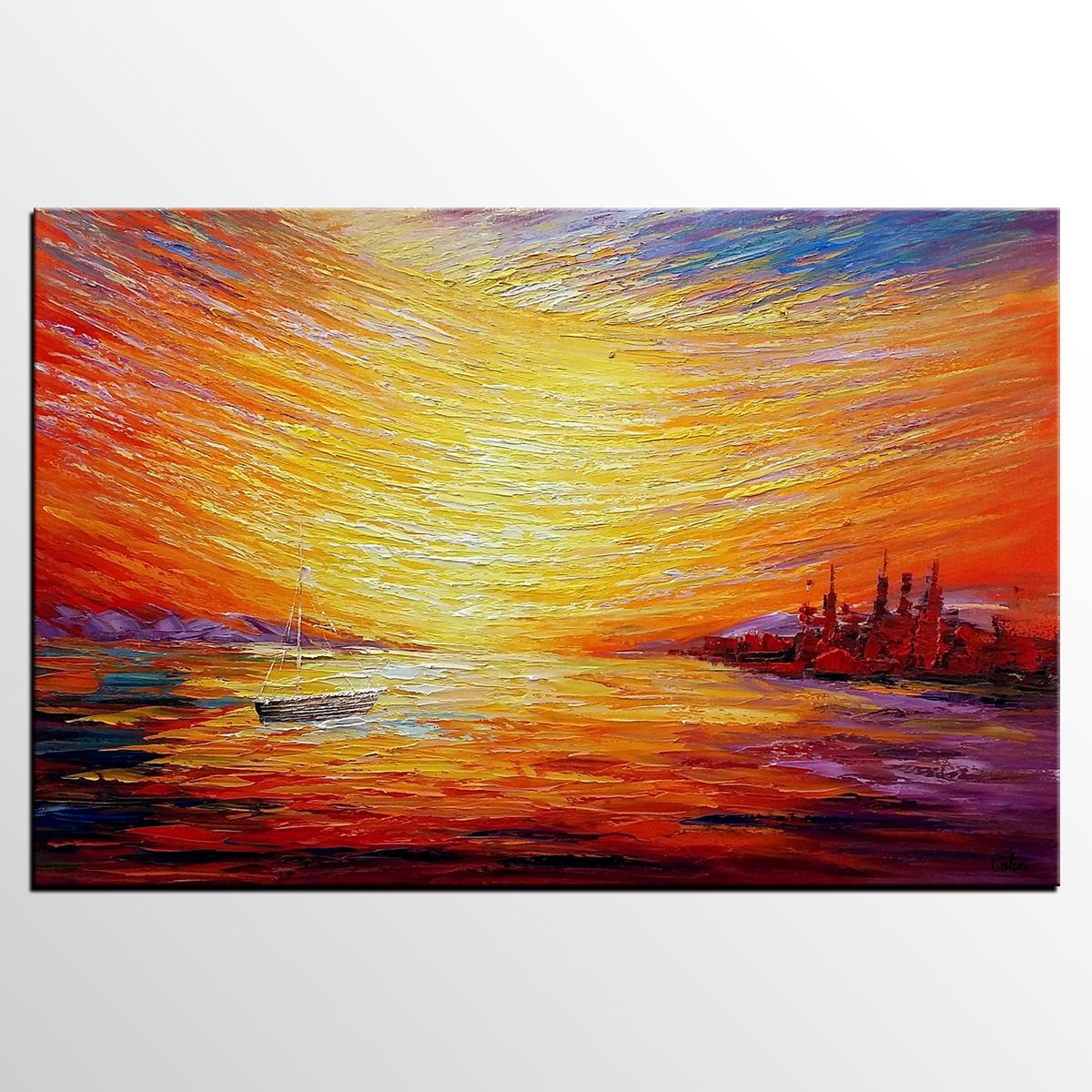 Sail Boat at Sea, Sunrise Painting, Oil Painting, Abstract Painting ...