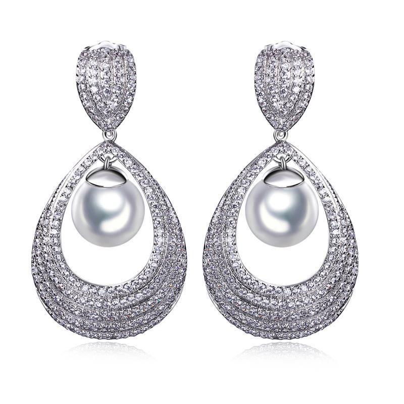 Luxury Pearl Earring Setting 347pcs Cubic Zirconia Platinum Plated ...