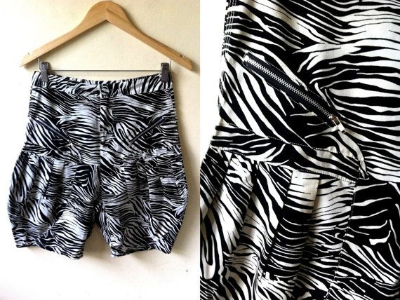 Summer Sale: zebra high waist bloomers (28 inches), black and white bermuda shorts by VintageHomage