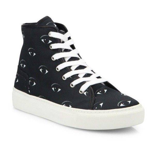 e33f61cf Kenzo Vulcano Eye Canvas High-Top Sneakers (£150) ❤ liked on Polyvore  featuring shoes, sneakers, black, black sneakers, canvas sneakers, black  high tops, ...