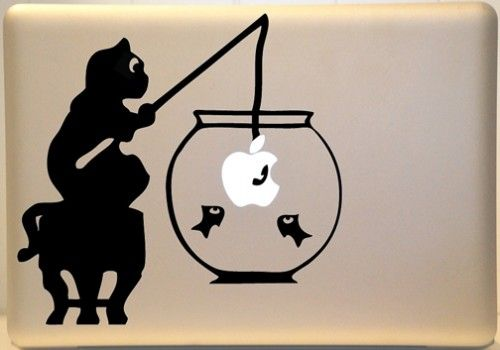 Cat Fishing Macbook Decal Vinyl Sticker For Mac Laptop MacBook - Vinyl decal cat pinterest