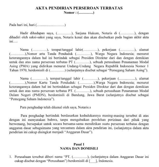 Contoh Surat Resmi Akta Pendirian Perseroan Terbatas Pt Format