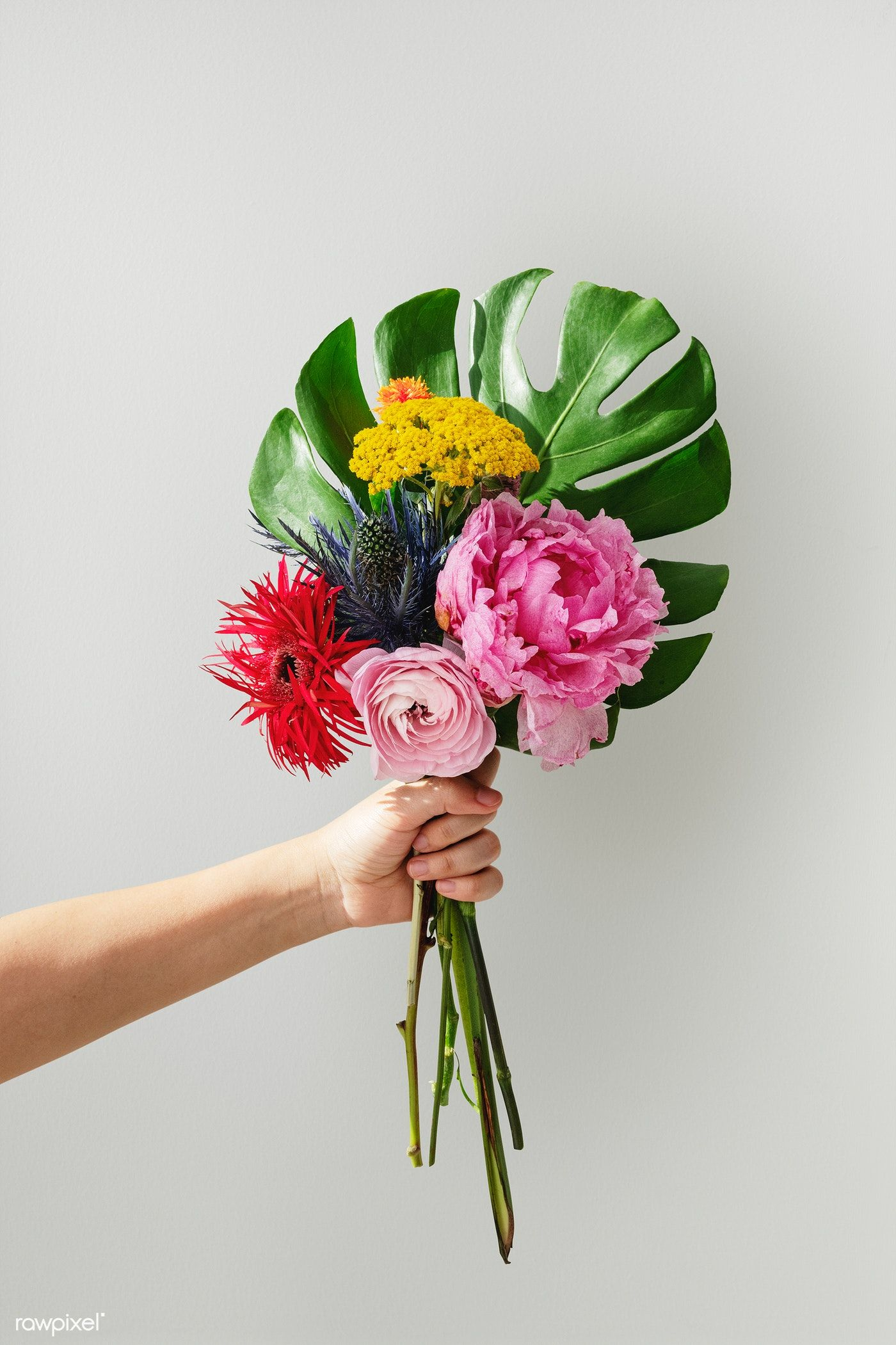 Woman Holding Up A Tropical Flower Bouquet Premium Image By Rawpixel Com Teddy Rawpi Tropical Flowers Bouquet Tropical Flower Arrangements Tropical Flowers