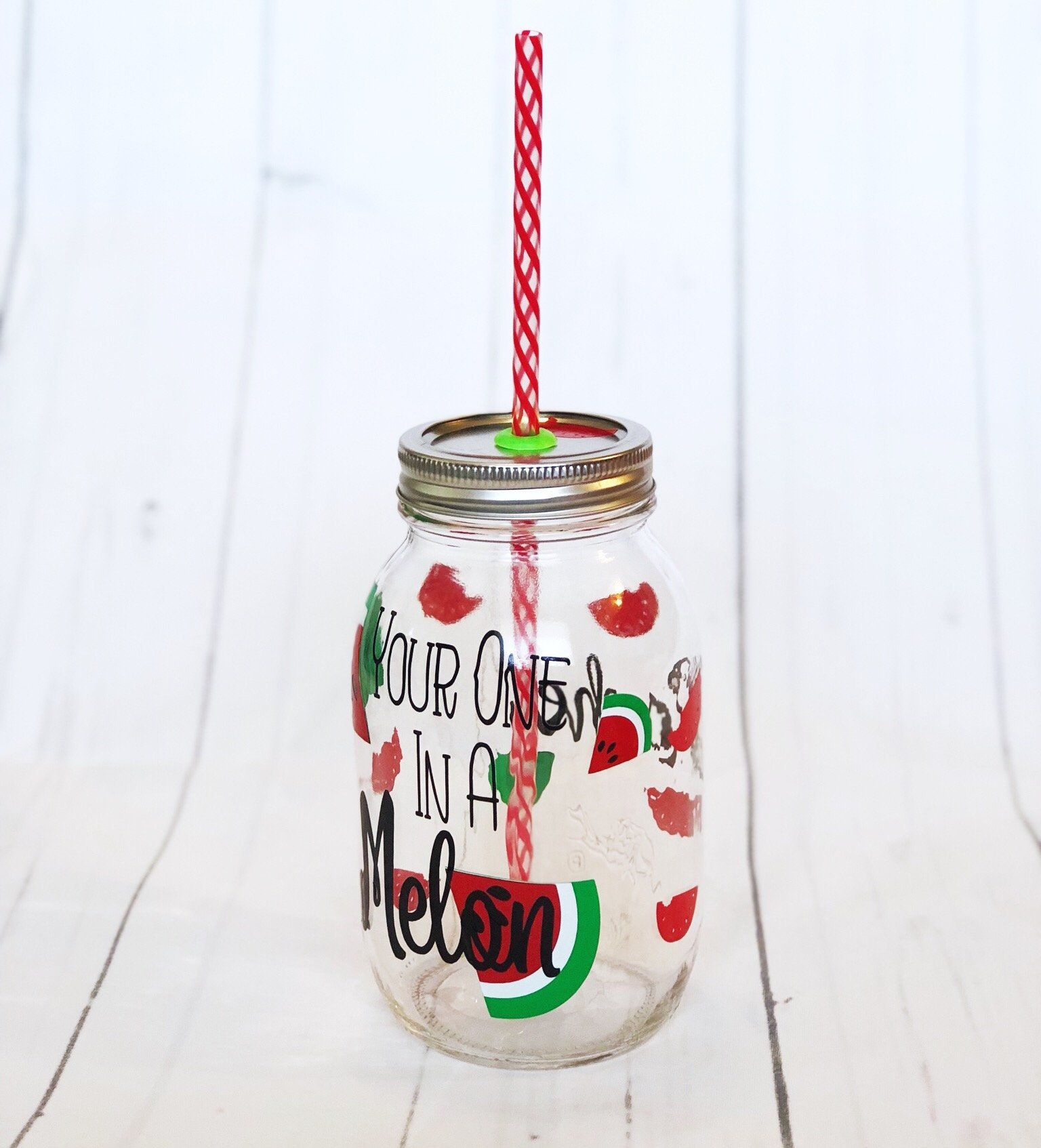 You Are One In A Melon Tumbler With Straw Mason Jar Free Etsy One In A Melon Summer Tumbler Food Lovers Gift