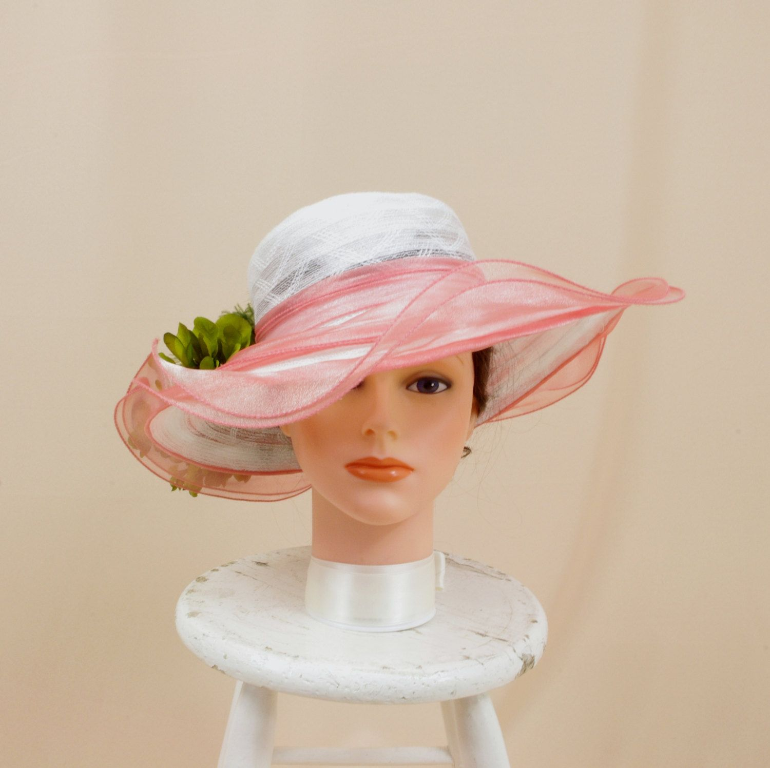 2db24130063 Salmon Pink and White Hat   White Floppy Hat   Kentucky Derby Hat   Pink  and Green Hat   Church Hat   Wedding Hat   Floral Hat   Formal Hat by ...