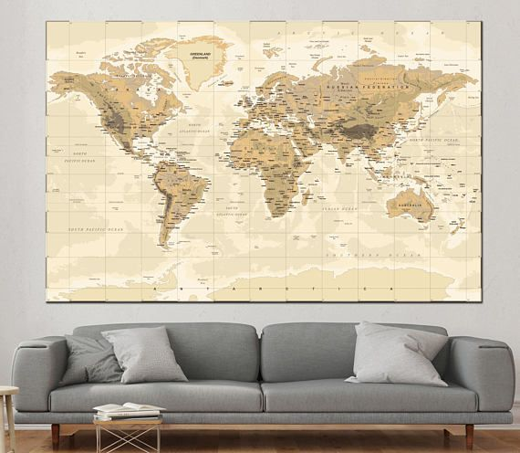Large detailed world map wall art with countries names canvas large detailed world map wall art with countries names canvas printextra large world map home decor world map canvas print ready to hang gumiabroncs Images