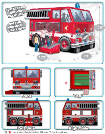 N-Flatables Giant Commercial Inflatable Fire Truck Bouncer™ | Giant