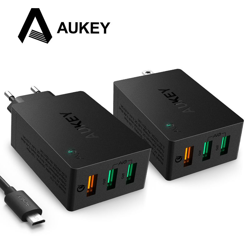 san francisco 95bd4 0eb53 AUKEY USB Charger Quick Charge 3.0 3-Port Mobile Wall Phone ...