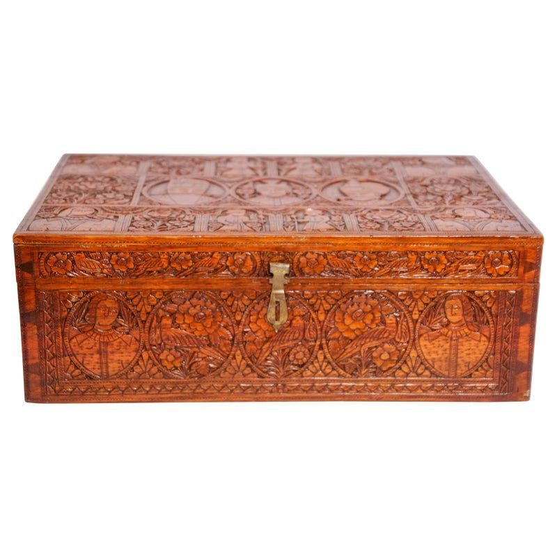 Large Early 19th Century Antique Hand Carved Wooden Decorative Box