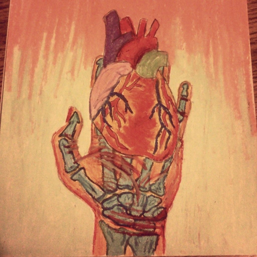 Heart in hand oil pastels