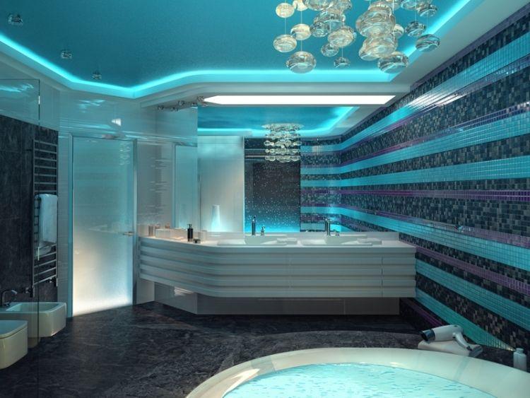 salle de bain mosaique bleu ciel, bleu marine, mauve, suspension - faux plafond salle de bain