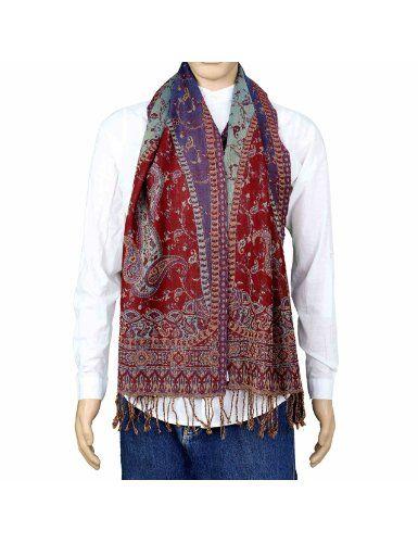 faa918191122 Mode homme - Belle écharpe indienne multicolore motifs paisley du Cachemire  100% laine - Idée cadeau de noël 30 x 152 cm  Amazon.fr  Vêtements et ...