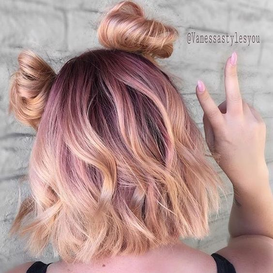 Pastel Ombre Purple Lilac Lavender Pink Rose Gold Top