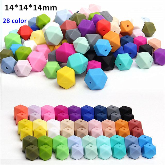10Pcs Hexagon Silicone Teething Beads Baby Jewelry DIY Chewable Necklace Teether