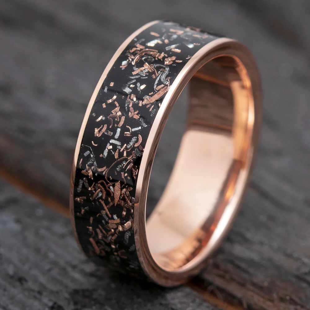 Black Stardust Men S Wedding Band In Rose Gold 3643 Vintage Engagement Rings Sapphire Mens Wedding Rings Mens Wedding Bands