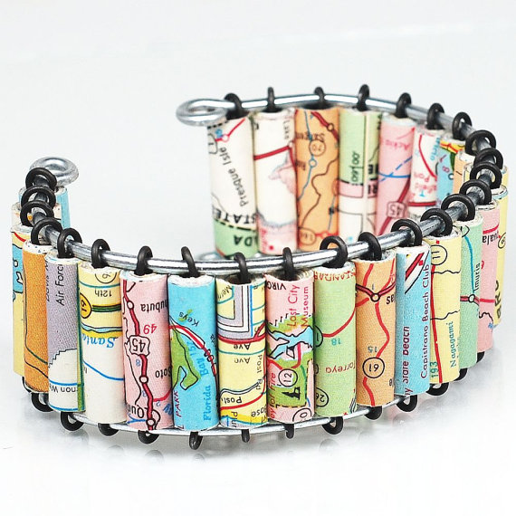 Paper Bead Jewelry Upcycled US Road Atlas Map Cuff By Tanith - Us road atlas map