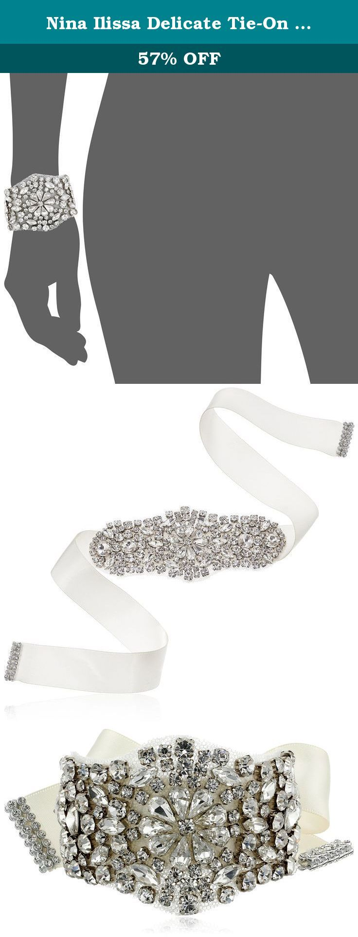 Nina Ilissa Delicate Tie-On Satin Ribbon and Crystal Bracelet. Art Deco-inspired tie bracelet featuring satin ribbon and elaborate crystal display backed with delicate mesh. Imported.